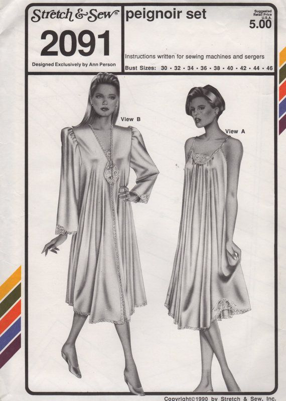 Stretch & Sew 2091 1990s Misses Peignoir and Nightgown Pattern ...