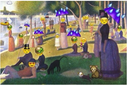 A Sunday Afternoon on the Island of La Grande Jatte painting with faces replaced by emoji