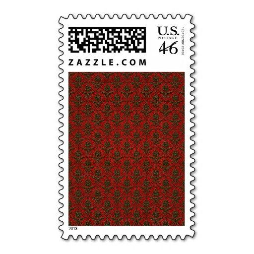 Red & Green Christmas Damask Stamps