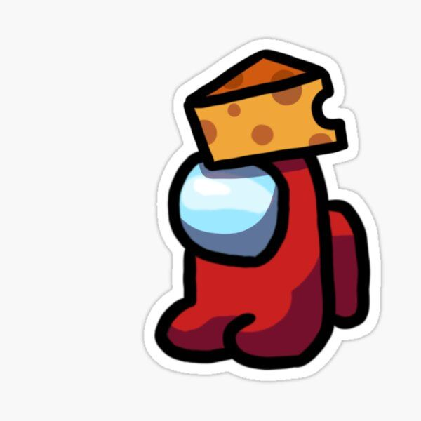 'Mini Red Crewmate With Cheese Hat' Sticker by lex