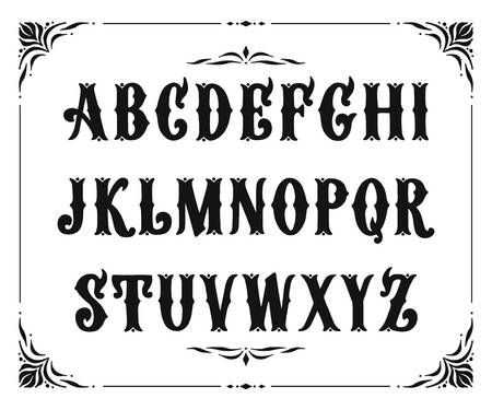Photo of Handcrafted letters with Victorian decor. Vector font type design…