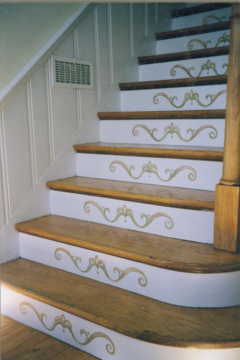 Decorating a Staircase | Basement stair, Staircases and Stenciling