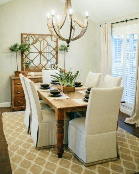 Joanna Gaines Fixxer Upper Dining Room Neutral Parson Chair Trellis Rug Farmhouse Table Wooden Chandelier