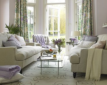 Living Room With French Doors Pretty Floral Curtains