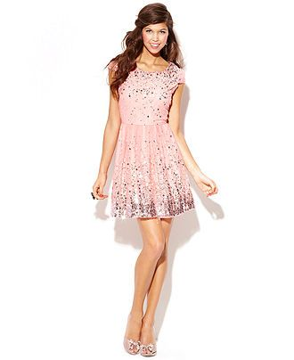 Trixxi Juniors' Lace Glittered Tulle Dress - Juniors Prom Dresses ...