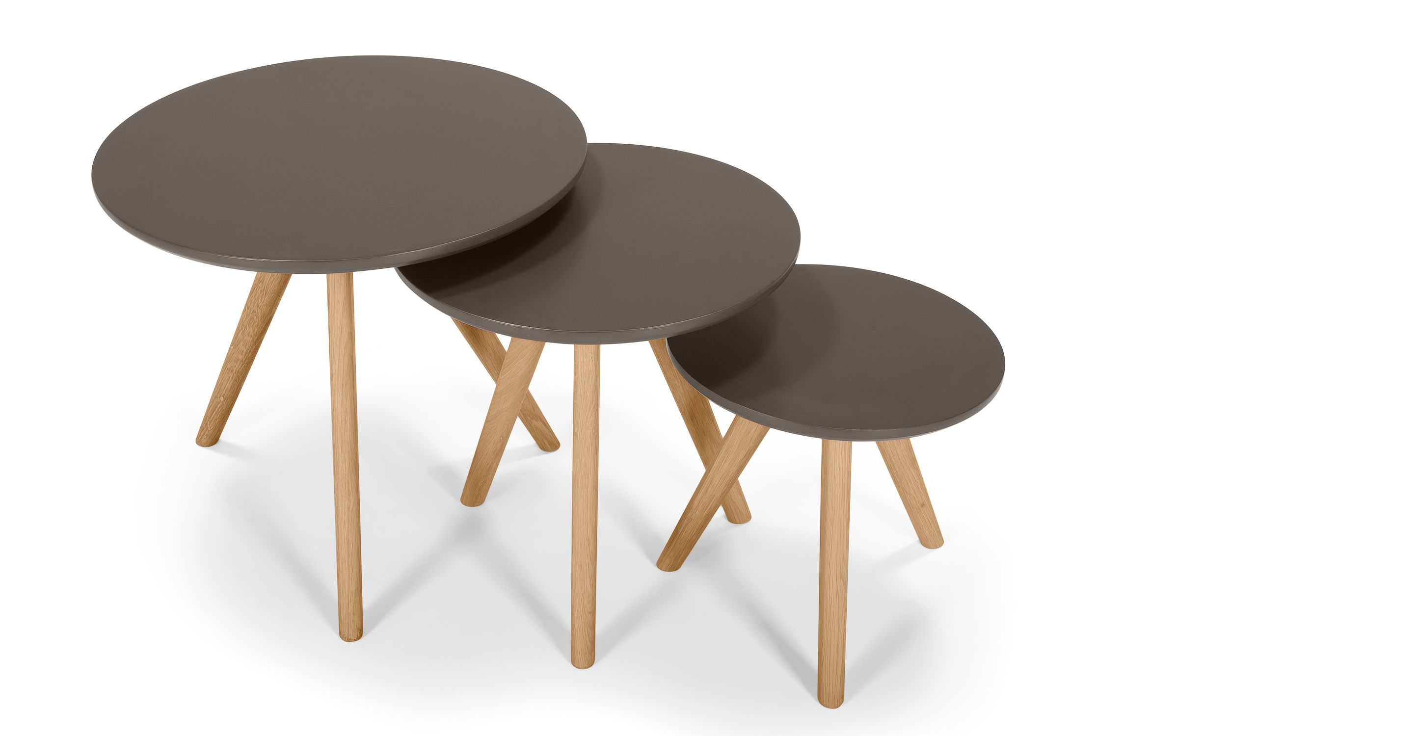Trio of Orion Side Tables in oak and grey