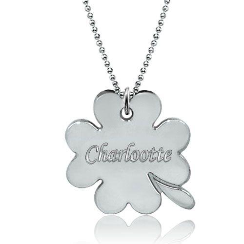 New 925 heart clover engraved name custom made necklace pendant new 925 heart clover engraved name custom made necklace pendant sterling silver pendant aloadofball Choice Image