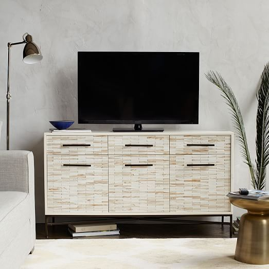 Wood Tiled Media Console 54 Modern Media Console Wood Tile Wood Media Console