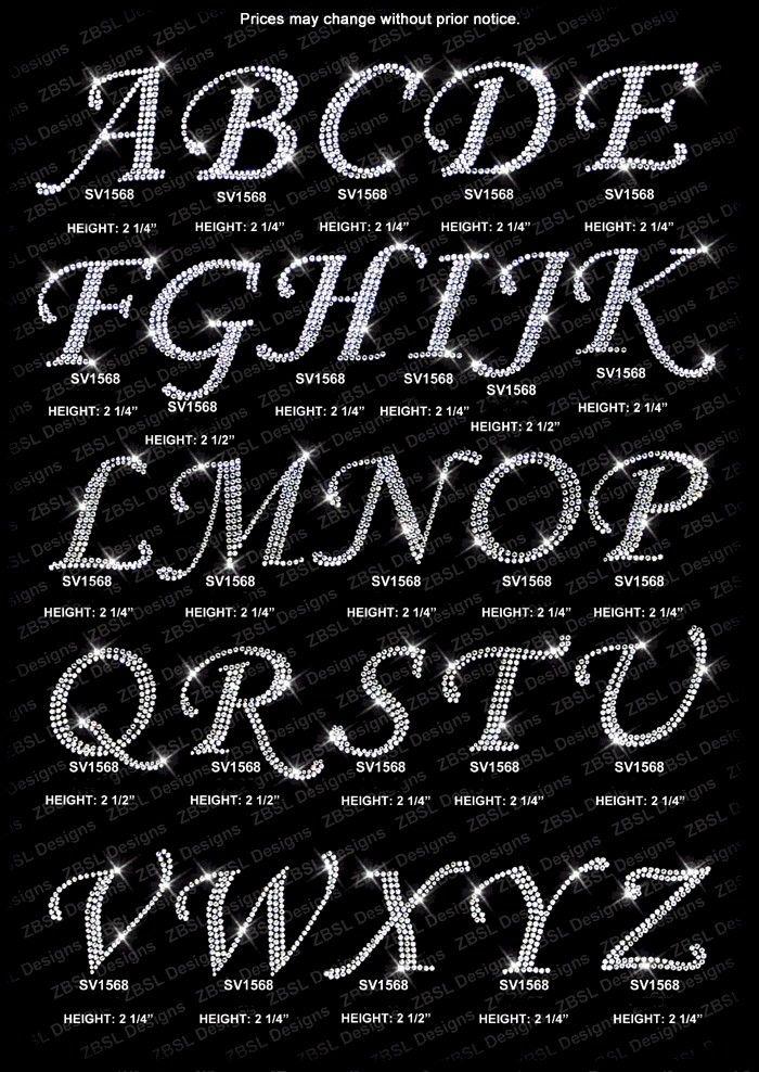 f48ddb9d43 Bling font | Swarovski Crystal Rhinestone Metallic Iron On Heat ...