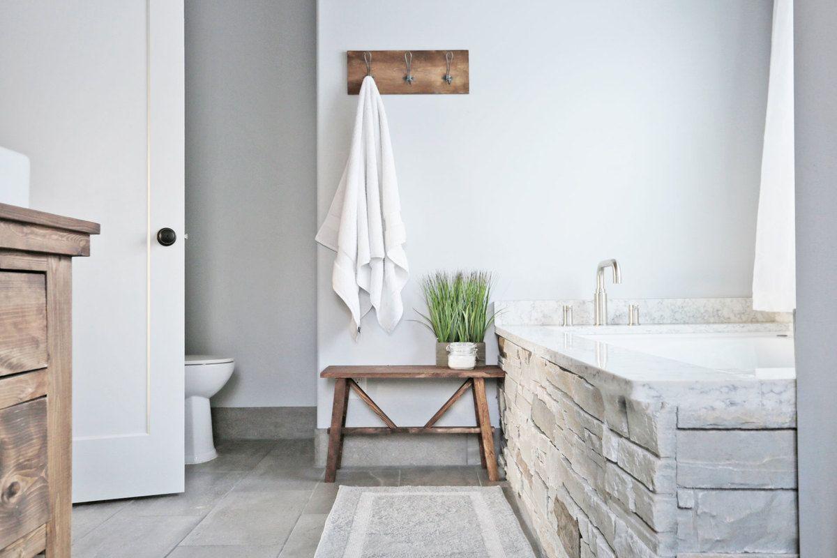 Small Rustic Bench Modern Farmhouse Bathroom Rustic