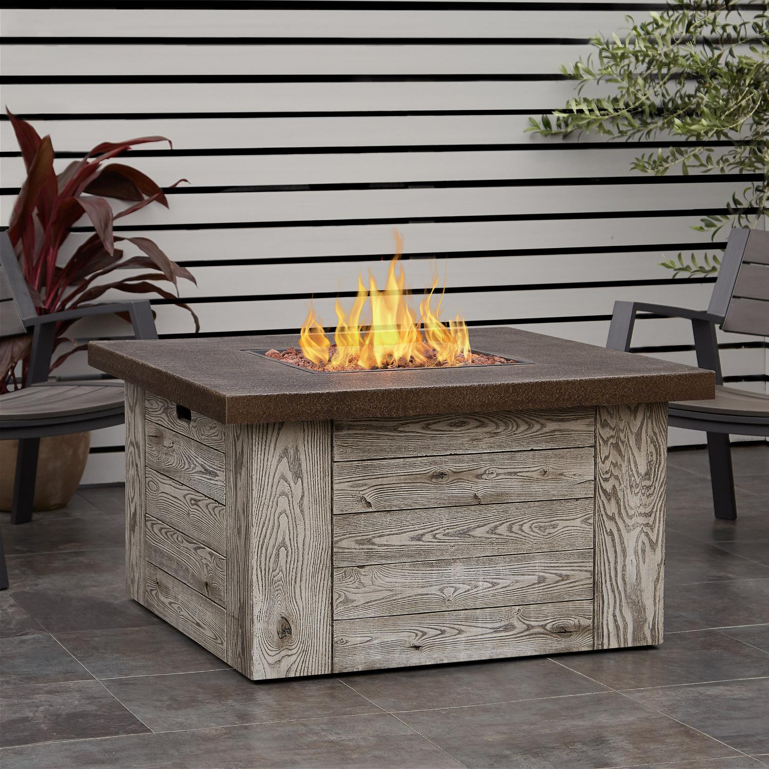 Real Flame Forest Ridge 42 Inch Square Propane Fire Pit Table Weathered Gray C1600lp Wgr Bbqguys In 2020 Fire Table Fire Pit Table Propane Fire Pit Table