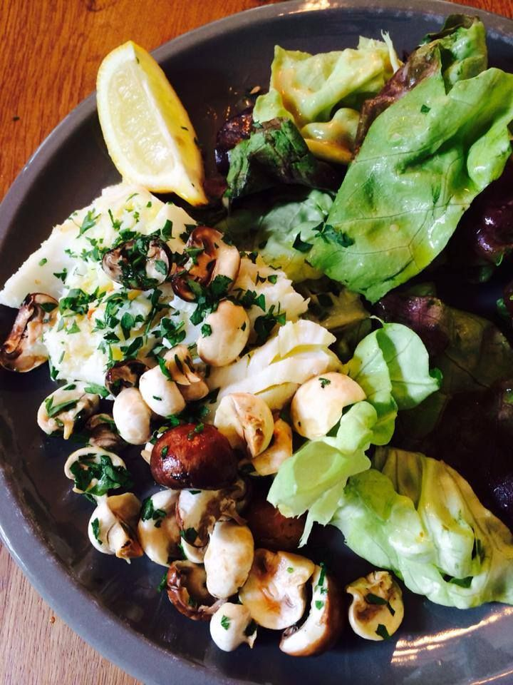 nigella's cod, baby mushroom salad with lemon, olive oil and parsley plus beautiful lettuce in Dijon mustard dressing