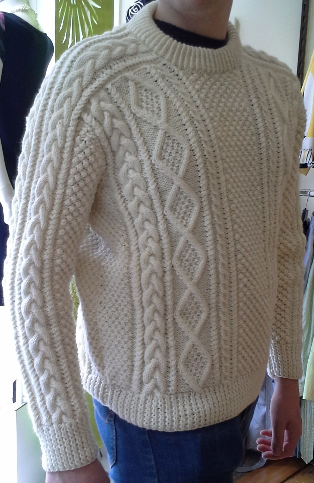 Superb quality handknitted Irish Fisherman sweater with ...