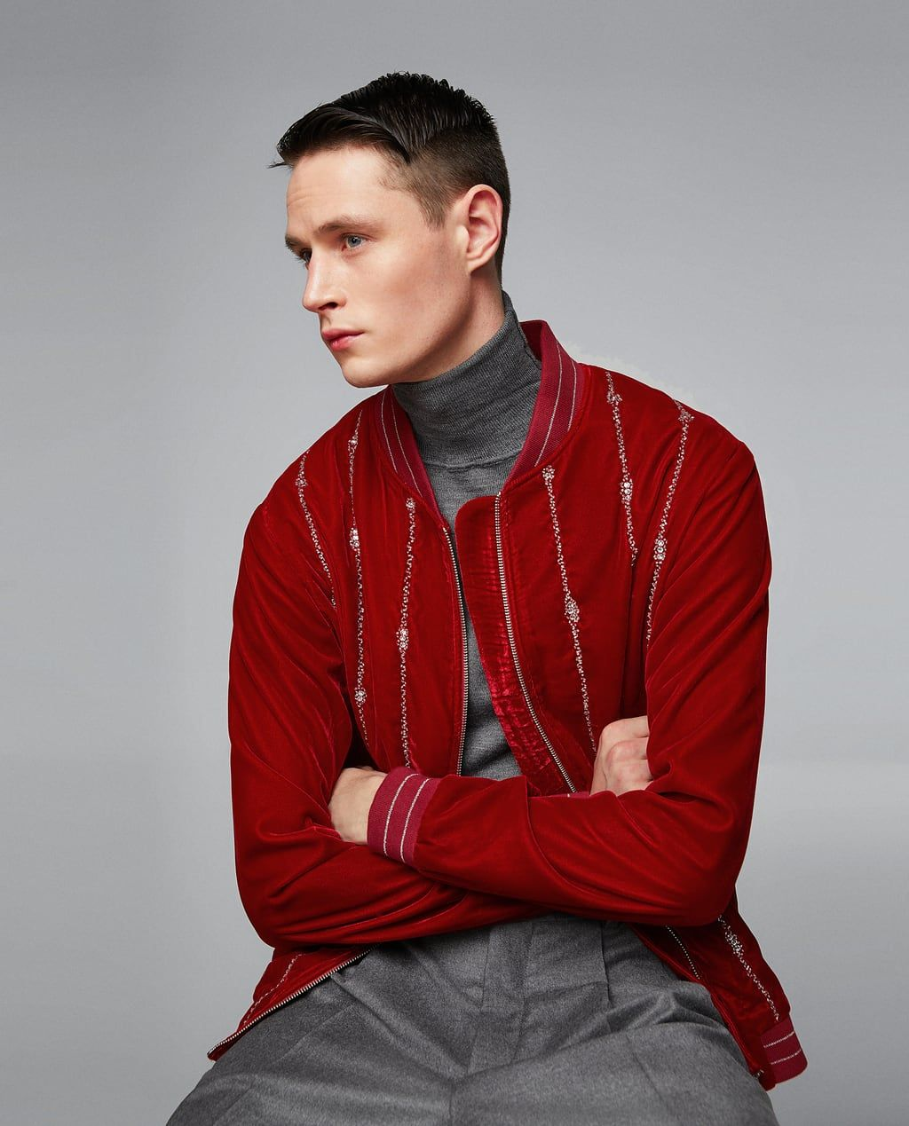 d21f610e VELVET BOMBER JACKET-NEW IN-MAN | ZARA United States | MENS FASHION ...