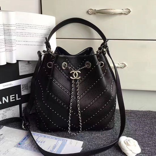 4bf4a816b793 Chanel Stud Calfskin Bucket Bag Black A93598