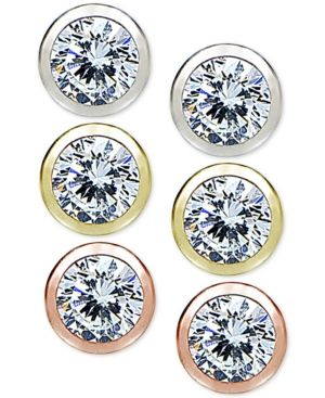 36342c949 Giani Bernini 3-Pc. Set Cubic Zirconia Bezel Stud Earrings in Sterling  Silver, 18k Gold-Plated and 18k Rose Gold-Plated
