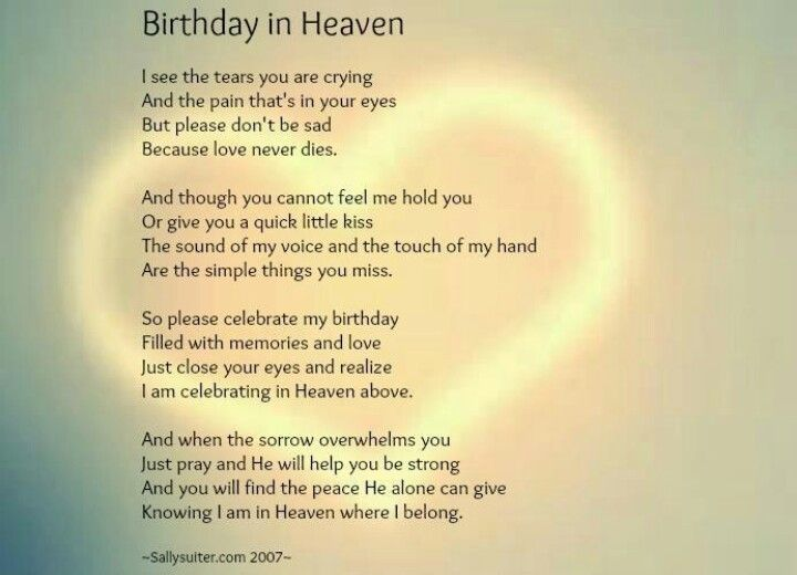 Happy Birthday In Heaven Thanku For This Comforting Poem My