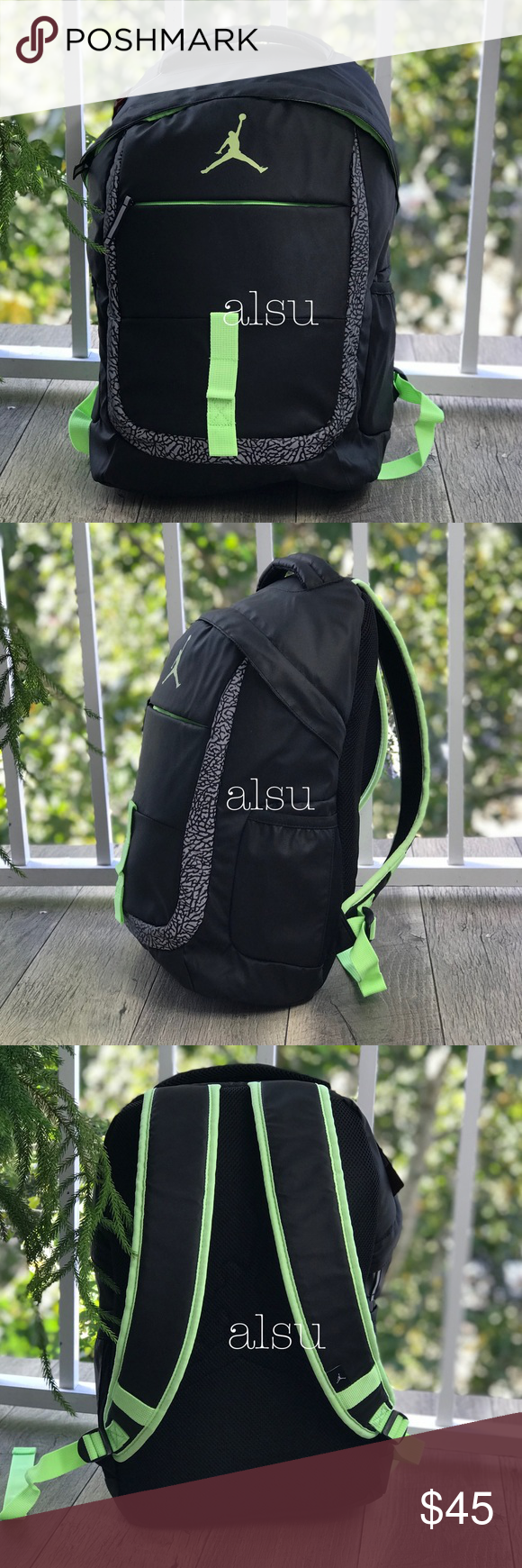 e1f23c0bb9 Nike Air Jordan Jumpman Jet Backpack Black-Green Brand new with tag. Price  is firm! No trades. Nike Bags Backpacks