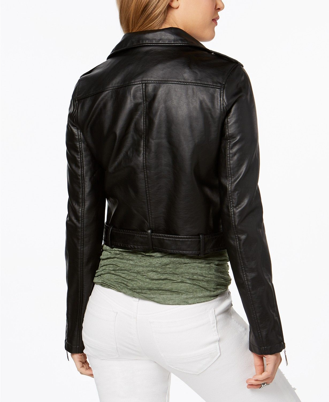 f0fe4569870 Jou Jou Faux-Leather Asymmetrical Moto Jacket - Coats - Women - Macy s