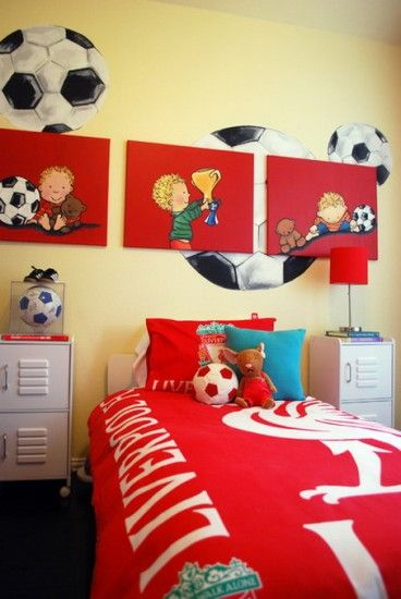 exciting football theme bedroom lfc room idea   awesome preschool rooms   Amazing Soccer Football Sports ...