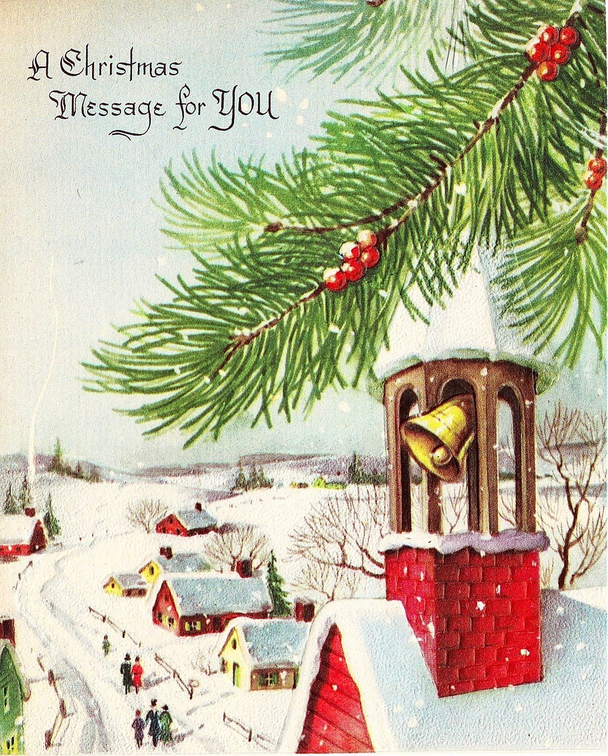 A Christmas Message For You Holidayschristmascardsretro