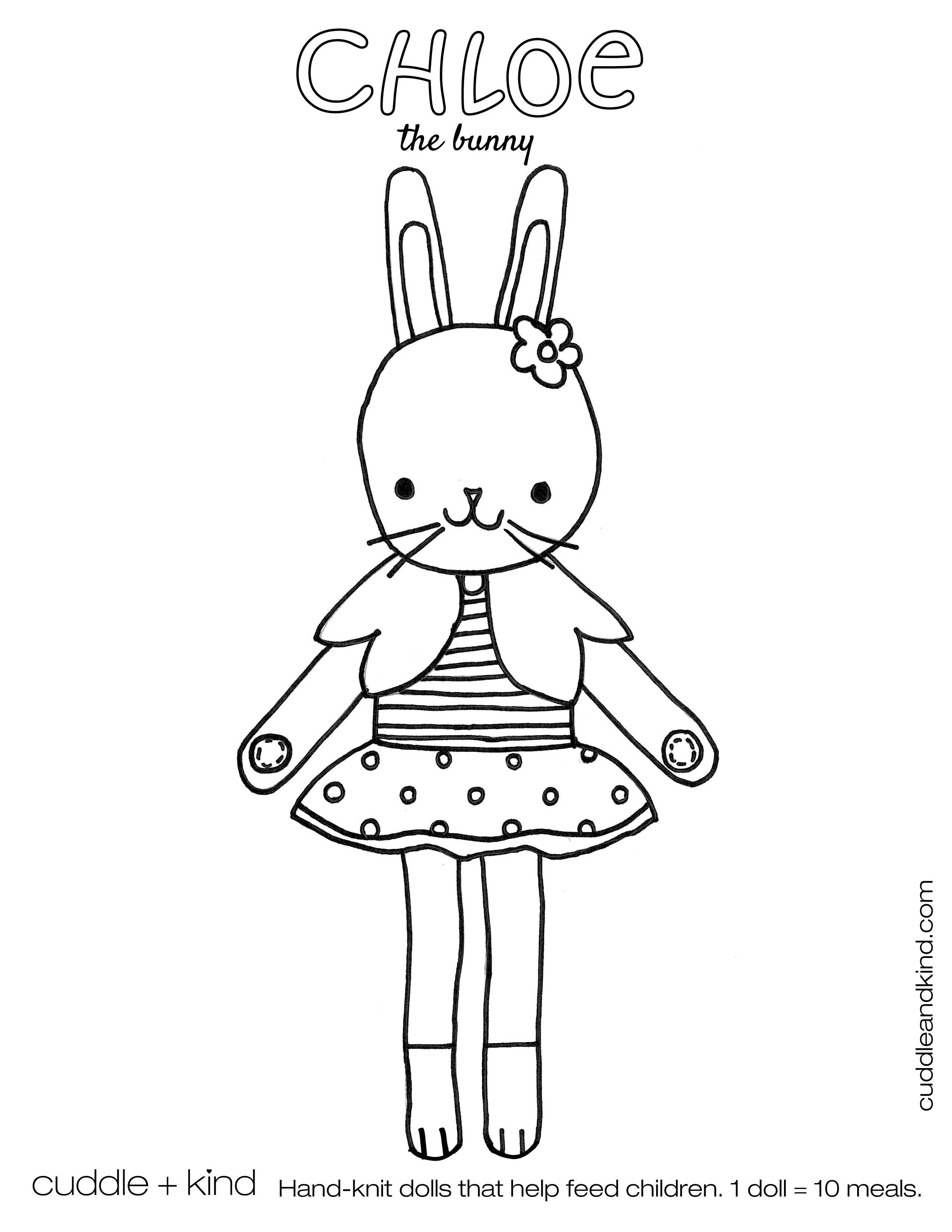 Cuddle Kind Chloe The Bunny Colouring Sheet Ddleandkind