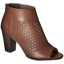 Women's Mossimo® Marie Perforated Peep Toe Heel - Cognac