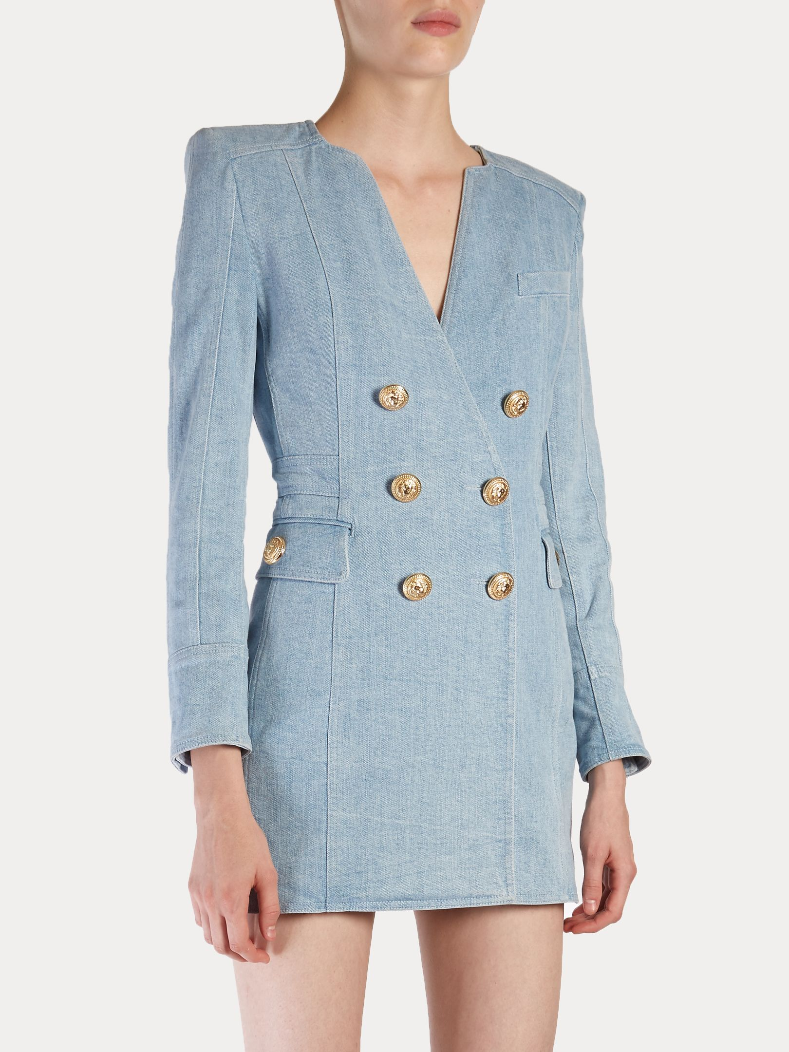 ce21781f75e Double-breasted denim dress | Balmain | MATCHESFASHION.COM | šití ...