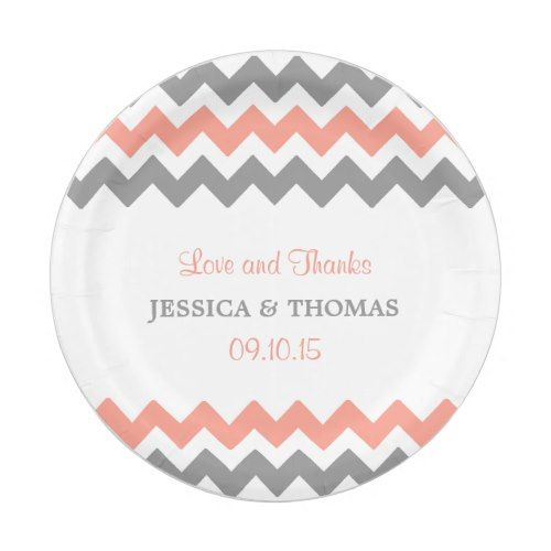 The Modern Chevron Wedding Collection- Pink u0026 Grey Paper Plate  sc 1 st  Pinterest & The Modern Chevron Wedding Collection- Pink u0026 Grey Paper Plate ...