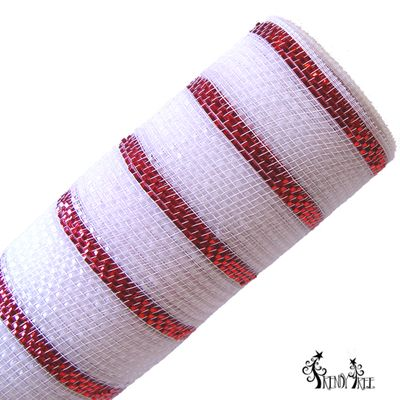 "Super Glamour Metallic Foil Mesh Size: 10"" in width; 10 yards in length: Color: White with thin red stripe Deluxe metallic style all foil poly mesh"