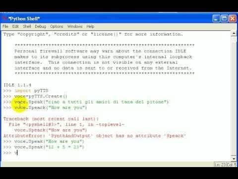 Tutorial 96 - Imparare Python - #Corso #Imparare #Lezione #Lezioni #Linguaggio #Microsoft #Onlin #Programma #Programmare #Programmazione #Python #Pytts #Sam #Sintesi #Tutorial #Video #Vocale http://wp.me/p7r4xK-KI