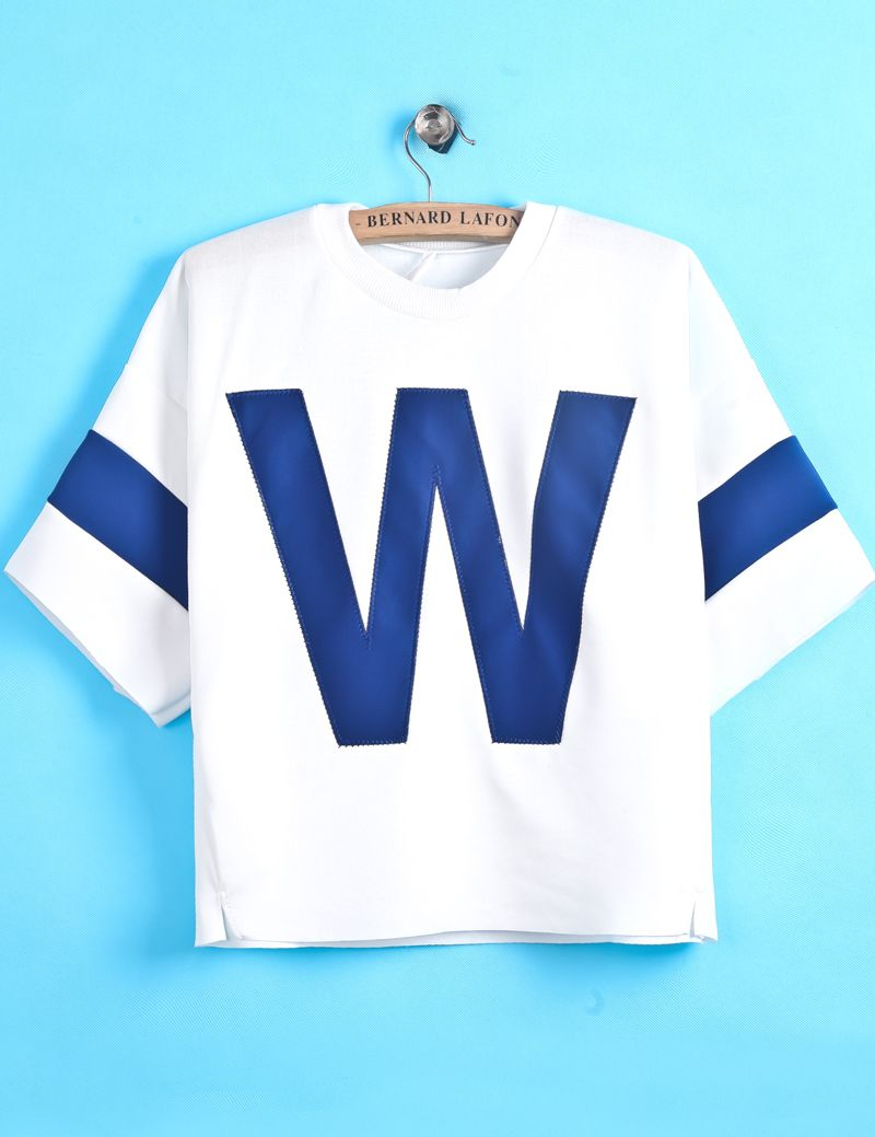 White Short Sleeve Blue W Print Crop T-Shirt EUR€15.03