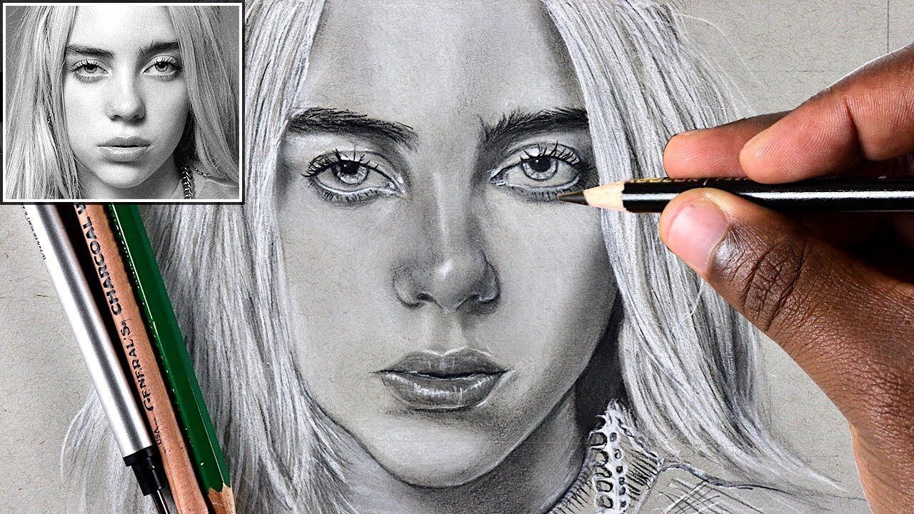 How To Draw Billie Eilish Step By Step Billie Eilish Portrait