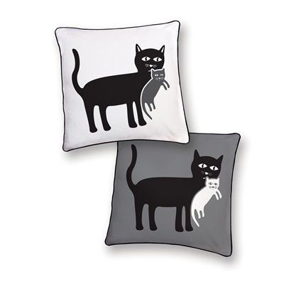 Naked Decor Mother Cat and Her Kitten Decorative Pillow