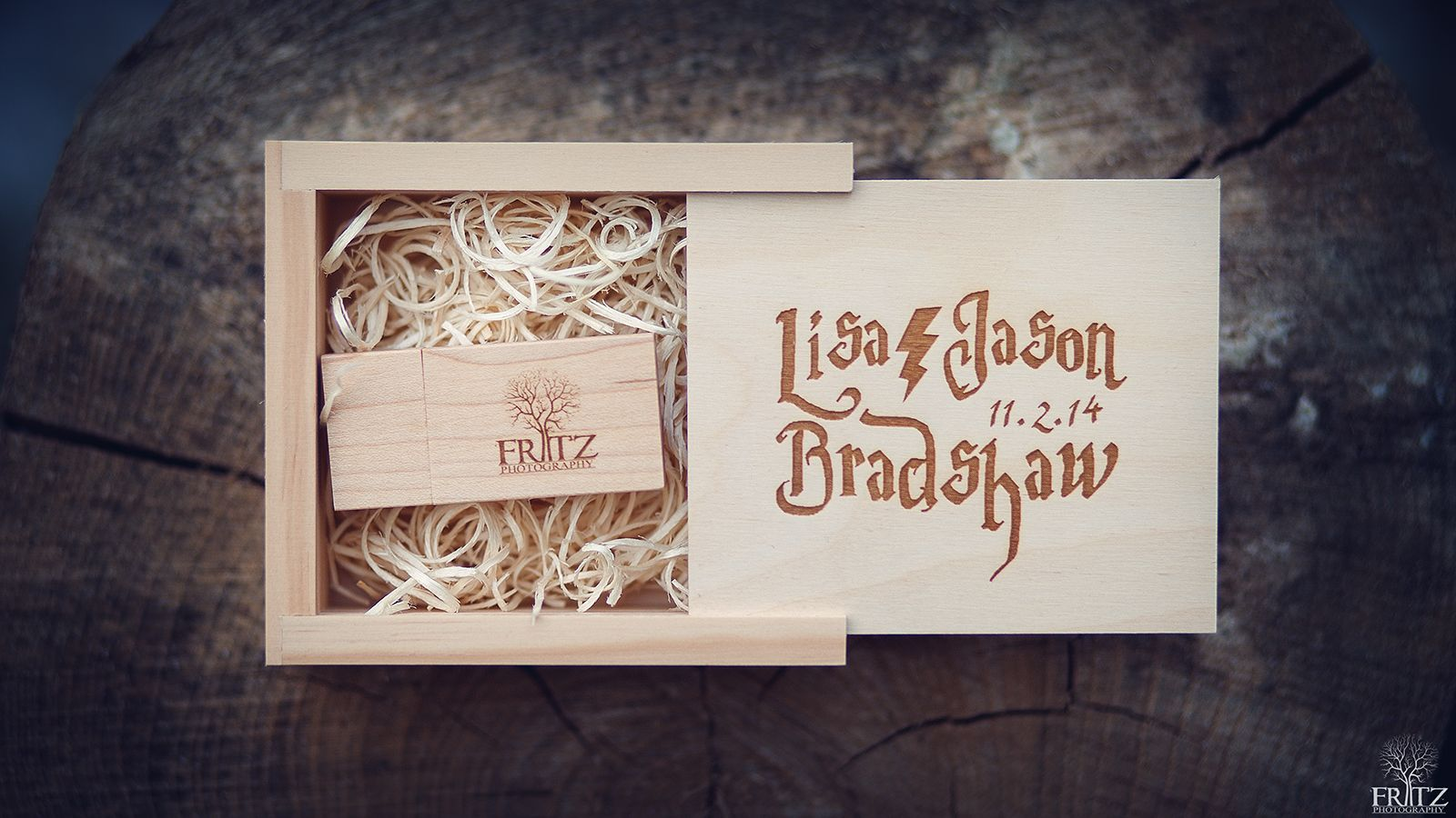 Custom Harry Potter Themed Flash Drive For Wedding Photos Blonde Maple Wood Personally