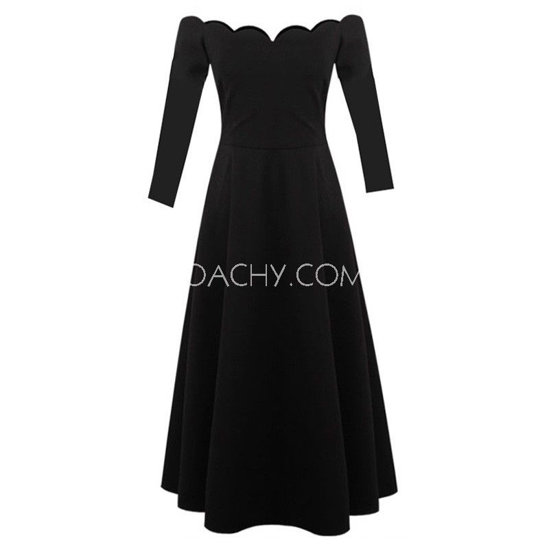 Euro Style Off-shoulder Sleeves A-line Tea-length Women Dress Simple 2017 - OACHY The Boutique #dress, #women, #oachy, #line, #sleeves
