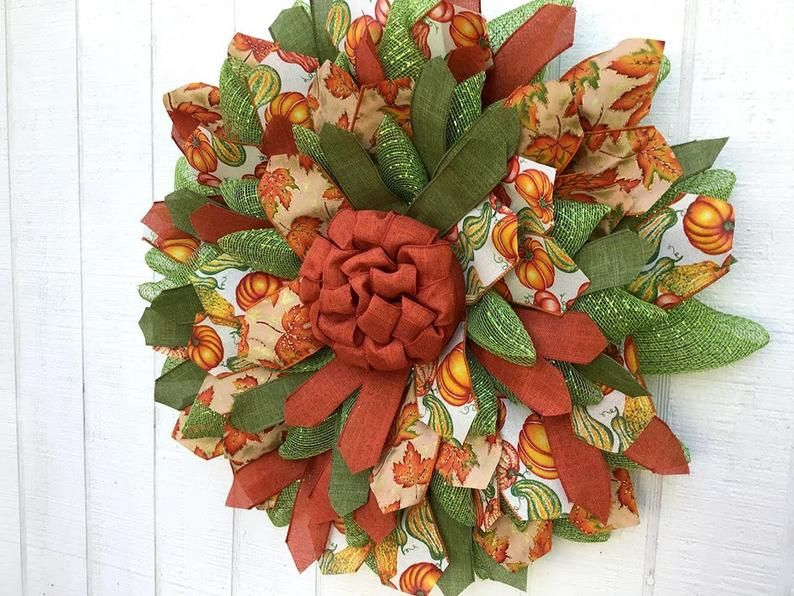 Photo of Fall Ribbon Wreath for Front Door, Autumn Decor, Storm Door Wreath, Flower Wreath, Creations By Gwili