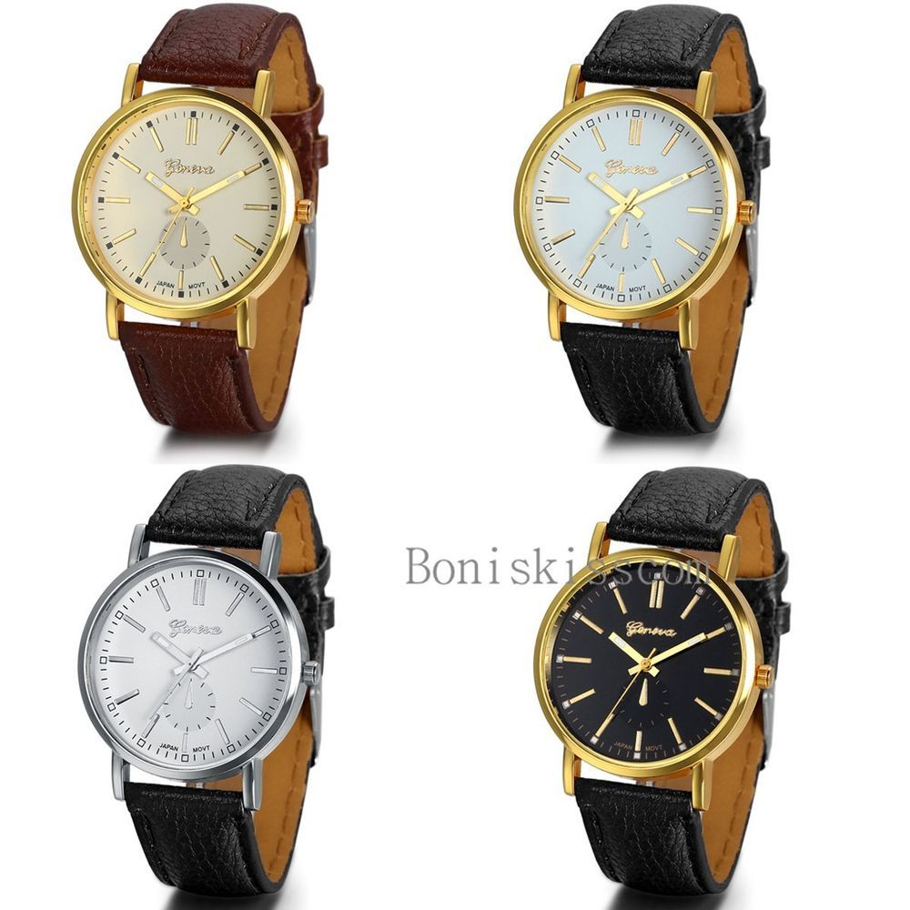 Classic Mens Womens Luxury Leather Band Gold Tone Dial