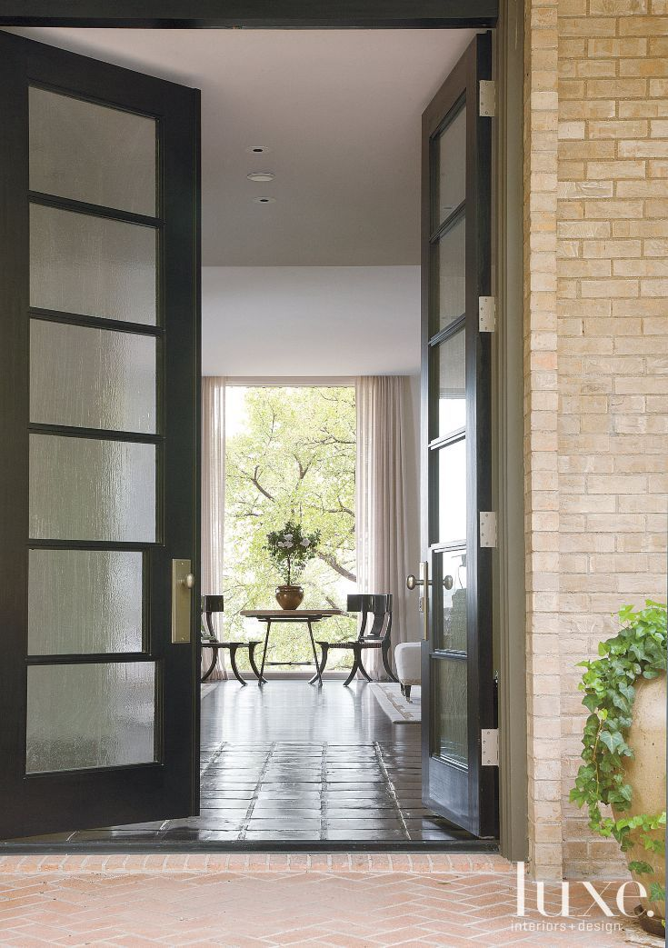 Modern Restored Ranch Front Entryway   Luxe   Entries + Foyers ... on modern front door designs, home with courtyard entrance designs, french country exterior home designs, front entrance patio designs, italian home front entrance designs, house front entry designs,