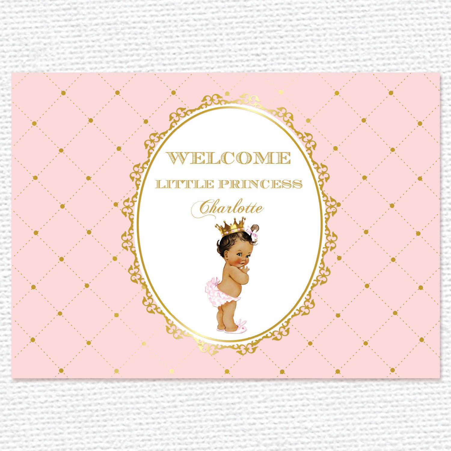 Pink And Gold Princess, Crown, Baby Shower, 1St Birthday, Baptism,
