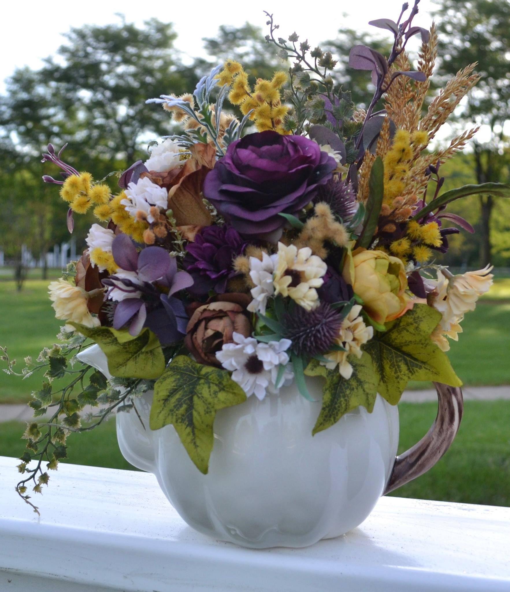 Fall Flower Arrangement In White Ceramic Pumpkin Chicago Silk