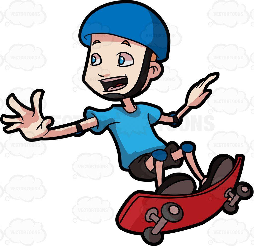 A Boy Does A Skateboard Trick In The Air Cartoon Clip Art