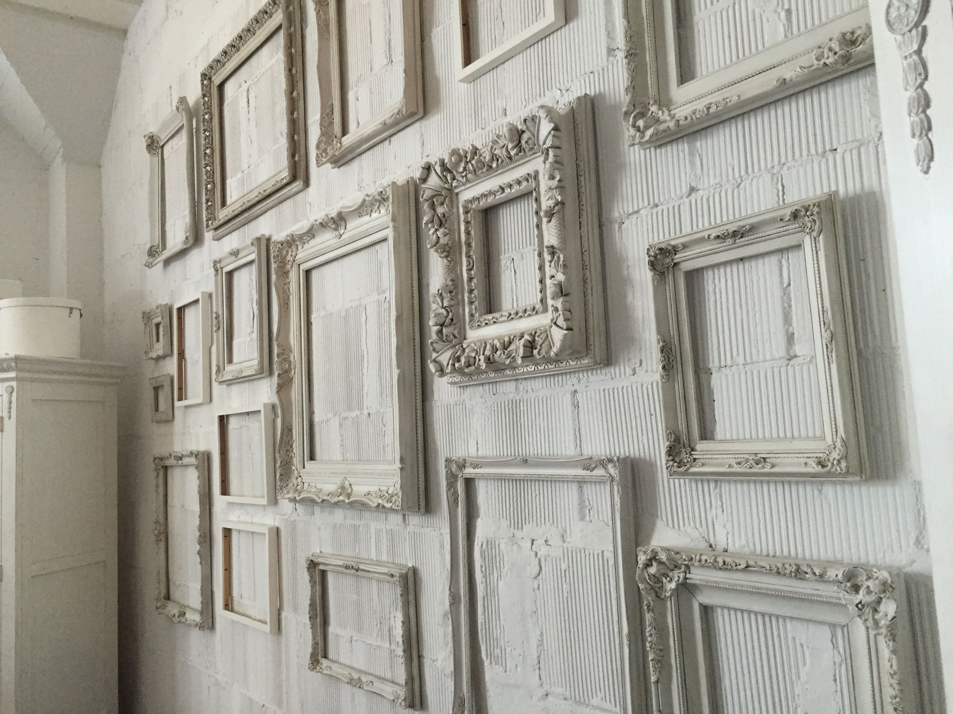 White Antique Frame Wall By Sue Bryce Frames On Wall Gallery Wall Frames Studio Decor