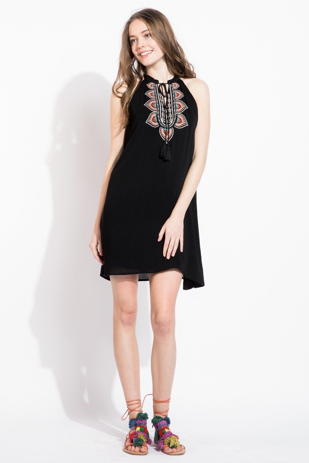 The bohemian embroidery on this THML dress makes it perfect for resort wear and for the upcoming spring season! Love the bright colors on black.