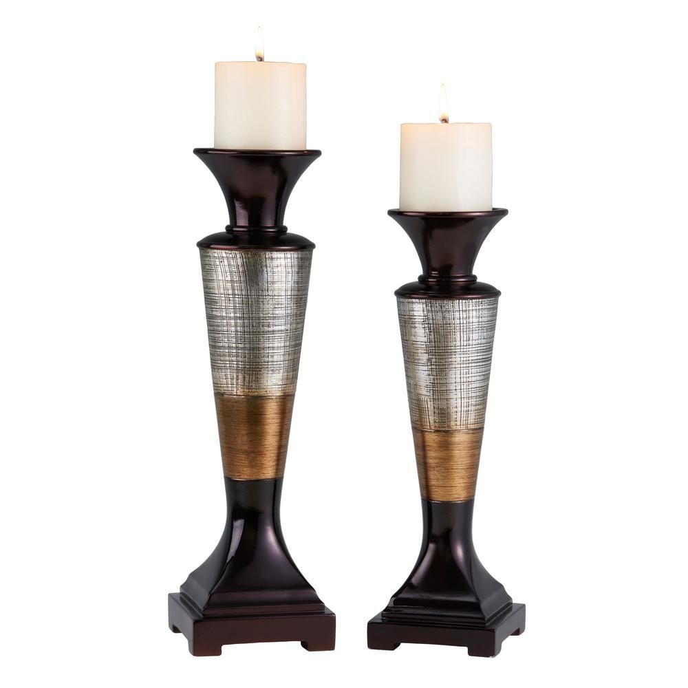 Silver bronze and brown polyresin naomi candleholders set of