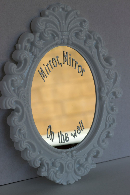 Mirror mirror decal, white victorian style mirror, nursery decor for ...