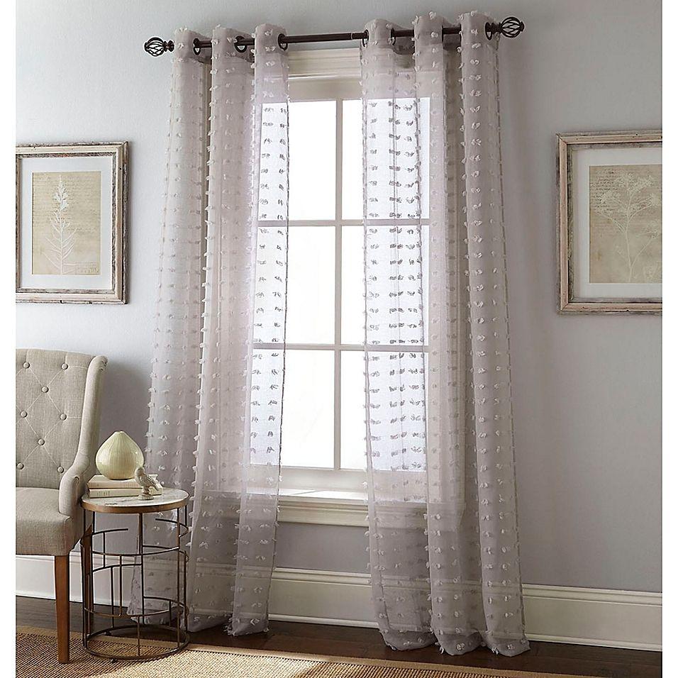 Payton 84 Grommet Window Curtain Panel Pair In Grey Sheer