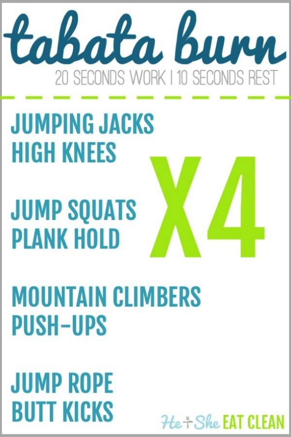Blast calories and burn fat with this Tabata workout. #fitness #exercise #workout #Tabata #heandshee...