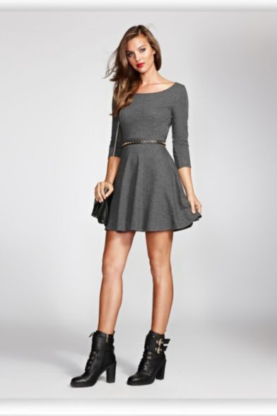 Three-Quarter Sleeve French Terry Fit-and-Flare Dress