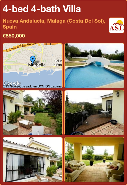 4bed 4bath Villa in Nueva Andalucia, Malaga (Costa Del